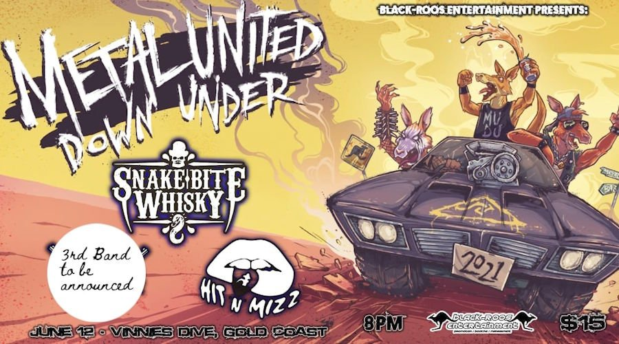 Poster for the Metal United Down Under 2021 Gig